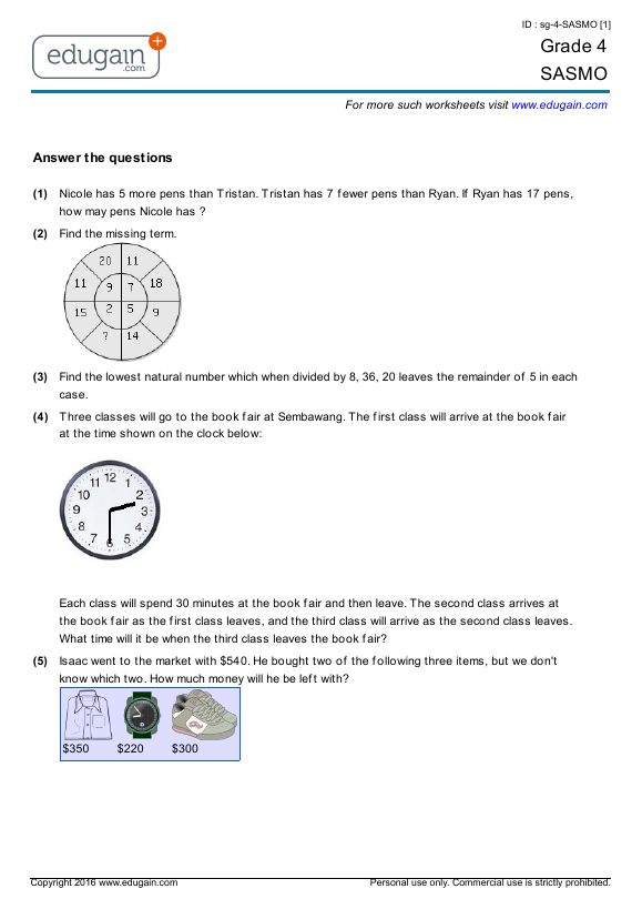 grade 4 sasmo printable worksheets online practice online tests and problems edugain malaysia. Black Bedroom Furniture Sets. Home Design Ideas