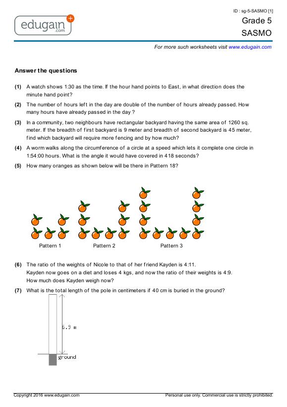 Time Worksheets time worksheets for grade 5 pdf : Grade 5 SASMO: Printable Worksheets, Online Practice, Online Tests ...