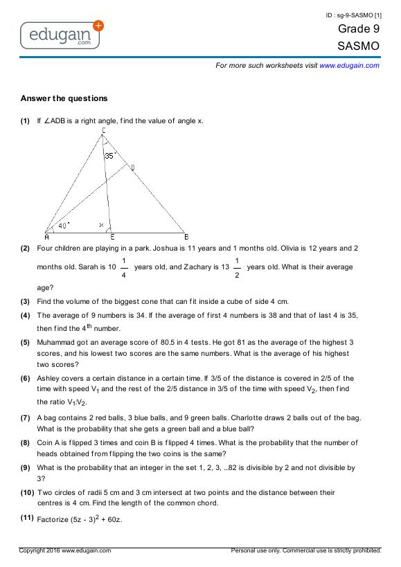 Grade 9 SASMO Printable Worksheets Online Practice Online Tests – Math Grade 9 Worksheets